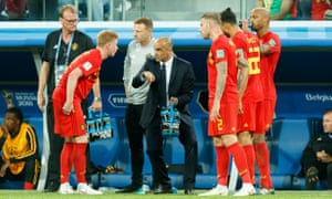 Belgium head coach Roberto Martínez issues instructions to his players during the semi-final defeat to France.