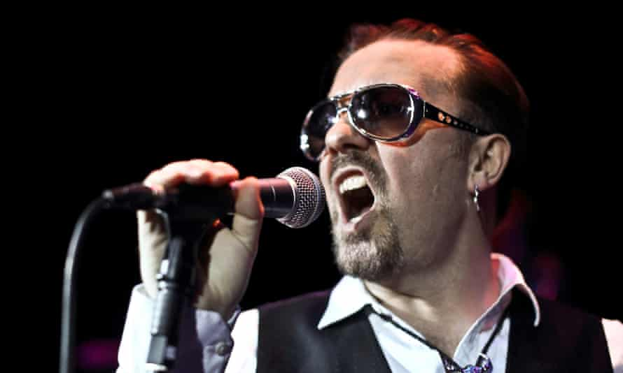 Gervais as David Brent onstage at London's Bloomsbury Theatre last year.