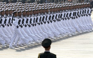 Chinese sailors march during the parade