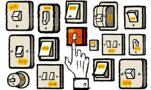 Illustration by David Foldvari of a hand hovering over light switches with price tags attached.