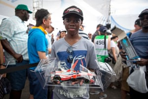 A young fan had his model car signed by Mahindra Racing driver Nick Heidfeld ahead of the race