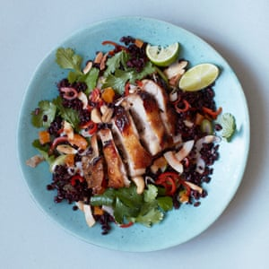 Thomasina Miers' sticky Thai chicken with black rice salad.