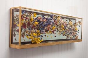 Helipetrum Sanfordii 2015 Antique brass cabinet, mixed flowers, copper wire
