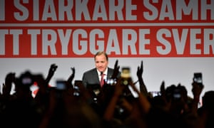Prime minister and party leader of the Social democrat party Stefan Lofven addresses supporters at an election night party following general election results in Stockholm.