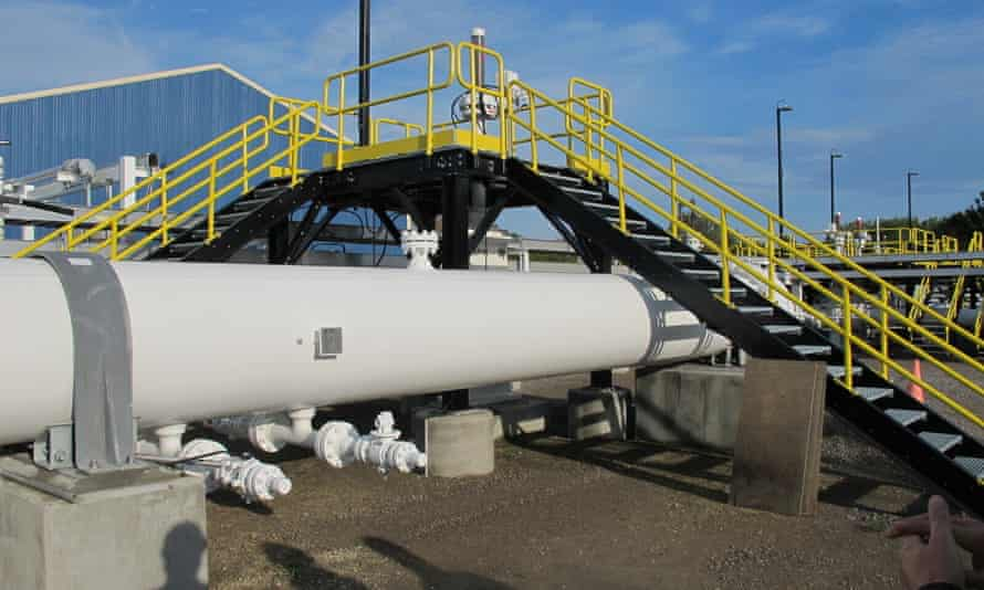An aboveground section of Enbridge's Line 5 at the Mackinaw City, Michigan, pump station.
