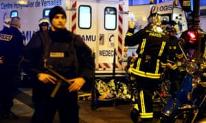 Emergency services at the scene of one of the attacks.