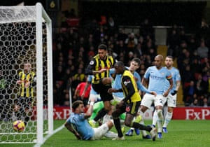 Abdoulaye Doucoure bundles the ball home to pull a goal back for Watford, is it too little too late though?