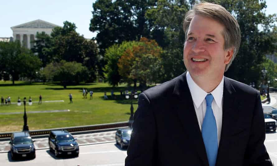 Brett Kavanaugh on Capitol Hill – with the Supreme Court in the background – in July.