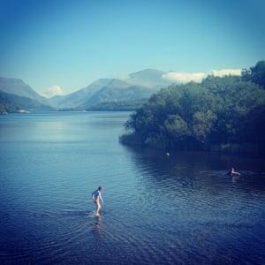 Wild swimming in Snowdonia.