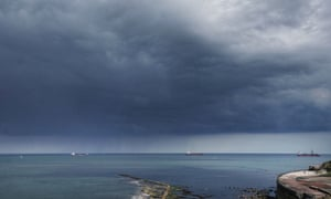 Storm clouds over Whitley Bay in the north-east