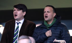 Irish taoiseach Leo Varadkar (right) sings the national anthem during the Six Nations match at the Aviva Stadium, Dublin.