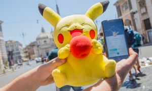 Gathering of Pokémon Go players, Piazza del Popolo, Rome, Italy