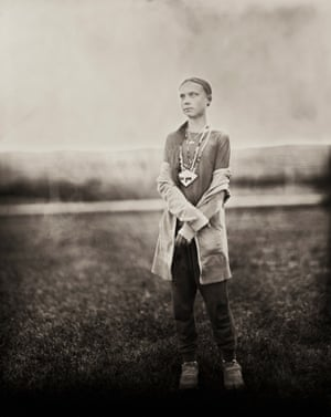 A wet plate portrait of the Swedish environment activist Greta Thunberg on a visit to North Dakota in 2019