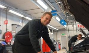 Martin Geborg, a mechanic at a Toyota service centre in Gothenburg