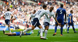 Lamela celebrates after Fuchs scored Tottenham's third with an own goal.