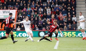 Ashley Barnes scores Burnley's third goal against Bournemouth.