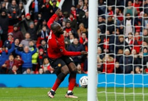 Manchester United's Romelu Lukaku scores their second goal.
