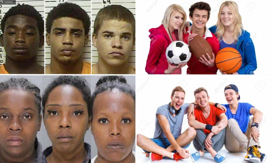 A composite image showing the contrast in Google search results for 'three black teenagers' and 'three white teenagers'.