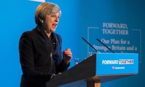Theresa May at Tory manifesto launch