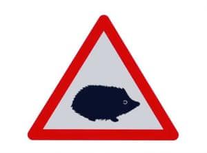 UK road sign warning of hedgehogs