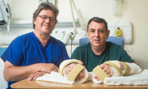Professor Simon Kay, left, who performed the UK's first double hand transplant at Leeds General Infirmary, on patient Chris King.