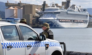 The Ruby Princess cruise ship sits docked at Port Kembla in Wollongong, NSW. An investigation has been launched into how the cruise line operator was allowed to disembark passengers in Sydney, resulting in several Covid-19 related deaths.