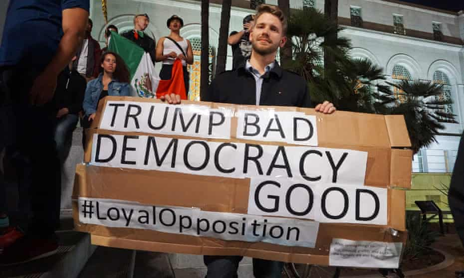 A protester in Los Angeles, shortly after the election of Donald Trump.