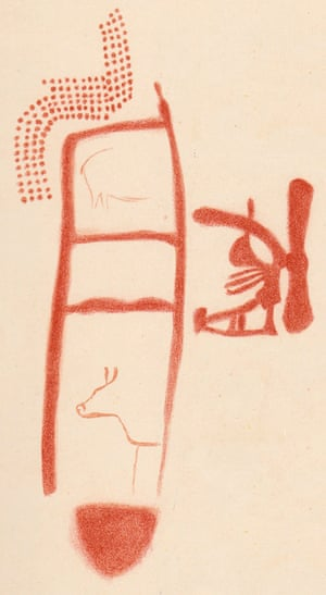 A drawing of the red ladder symbol from the La Pasiega cave near Bilbao in Spain. Dating shows it has a minimum age of 64,000 years but it is unclear if the animals and other symbols were painted later. Illustration: Breuil et al
