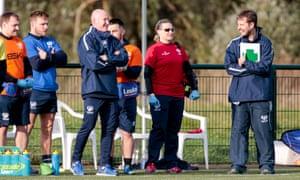 Nathan Graham leads Scotland training.