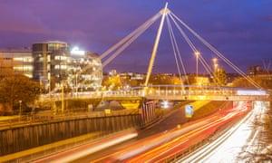 Footbridge linking Northumbria University and Newcastle city centre.