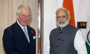 Narendra Modi receives Prince Charles at Hyderabad House in Delhi on Wednesday.