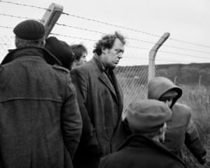 Brian at the disputed fence, Lynemouth, Northumberland, 1984