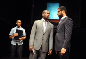 John Boyega, Kobna Holdbrook-Smith and Karl Collins in Seize the Day, Tricycle theatre, London, 2009.