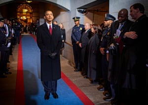 Washington DC. Obama waits in the wings at the US capitol before becoming the 44th president