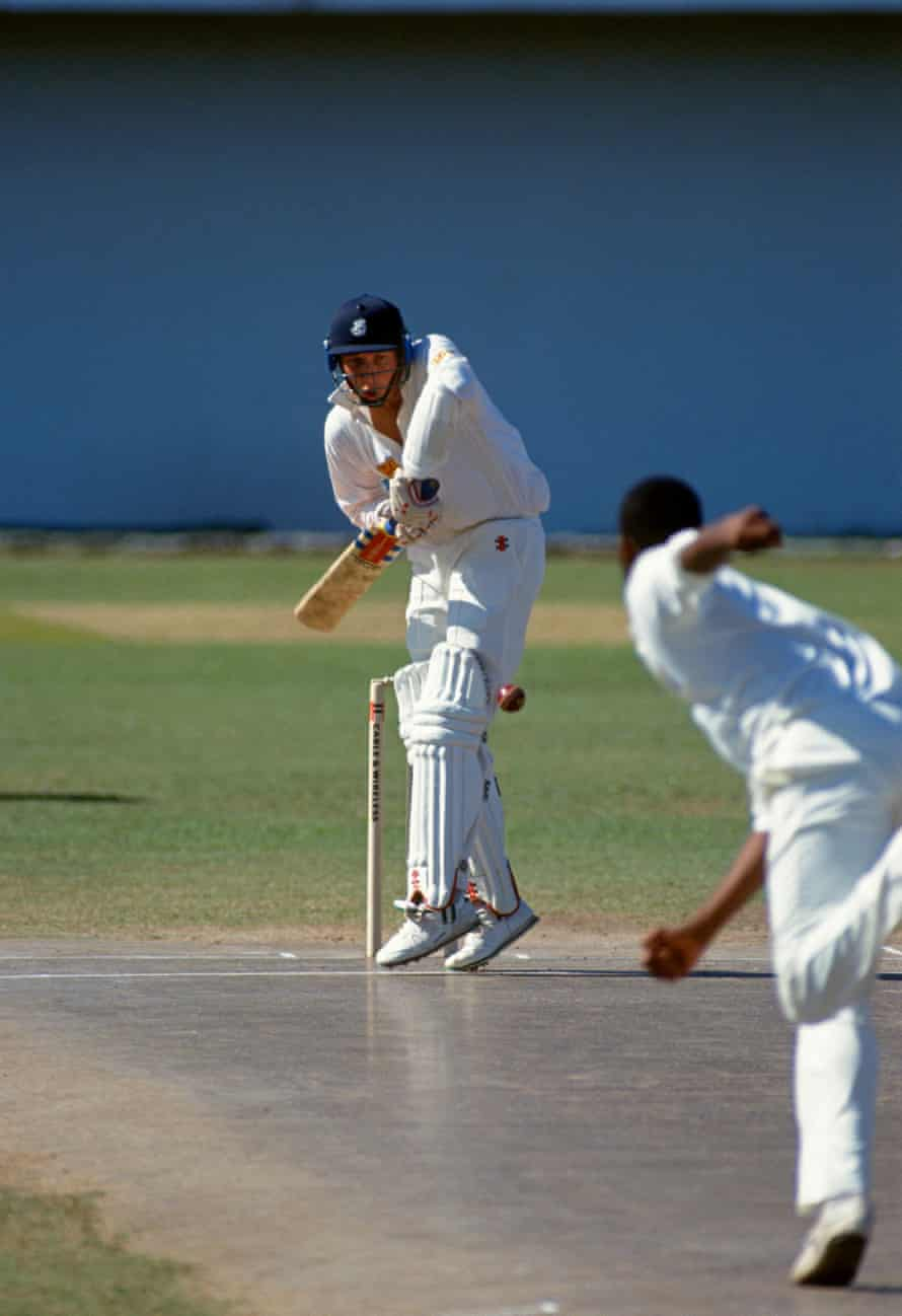 Mike Atherton of England faces a ball from Courtney Walsh of West Indies with his shot reflected in the surface of the pitch, during the One Day International between West Indies and England at Sabina Park, Kingston, Jamaica, 26th February 1994. West Indies won the match by 3 wickets.