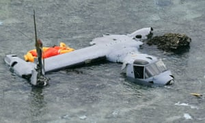 Crashed Osprey aircraft in the sea