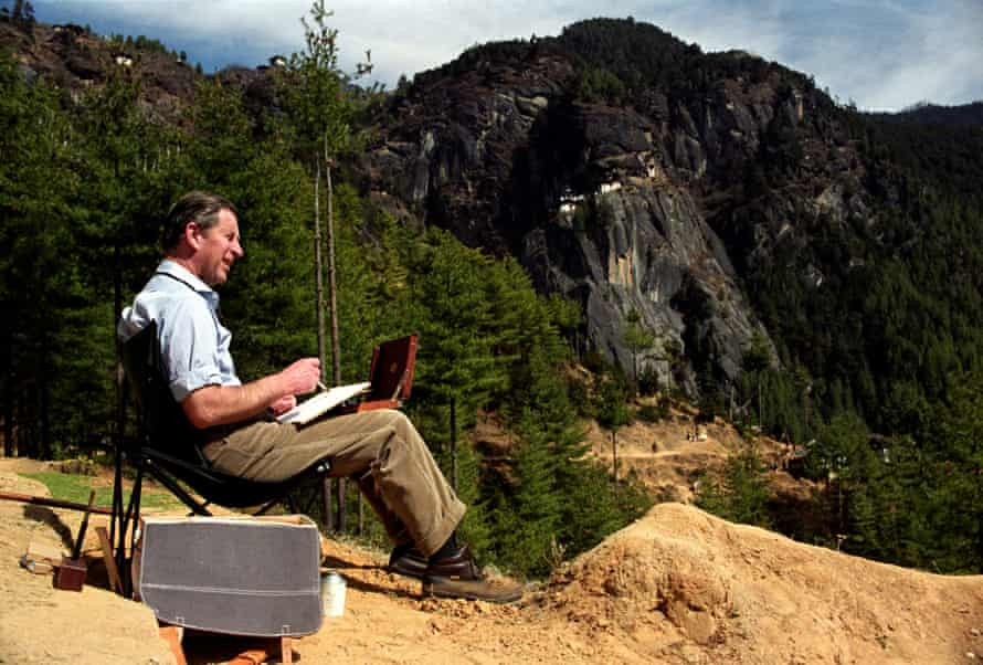 The Prince of Wales takes a short rest at a Buddhist prayer temple, to paint a water colour in the Bhutan Himalayas