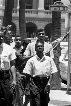 """Civil Rights Movement, Savannah, Georgia, June 1963. Benjamin Van Clark, a seventeen-year-old student, leads a march for freedom. Fred:""""I discovered the Civil Rights Movement by chance as I was walking the streets of Savannah planning a book on the city's architecture. I met change marching toward me in the form of Benjamin Van Clark, a seventeen-year-old student leading his troops chanting into battle. The deep rumblings of the Civil Rights Movement in Georgia and elsewhere somehow had never reached me in Europe"""""""
