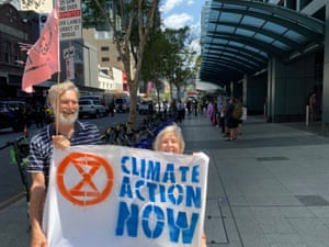 Barbara and Richard at the Extinction Rebellion protests in Brisbane this week.