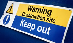 A keep out sign on a construction site