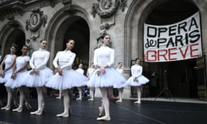 Dancers make their pensions strike protest in tutus in the Palais de l'Opéra, Paris.