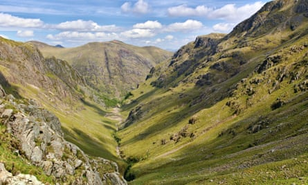 Lost Valley, Glen Coe, Scotland with ridge and steep slopes
