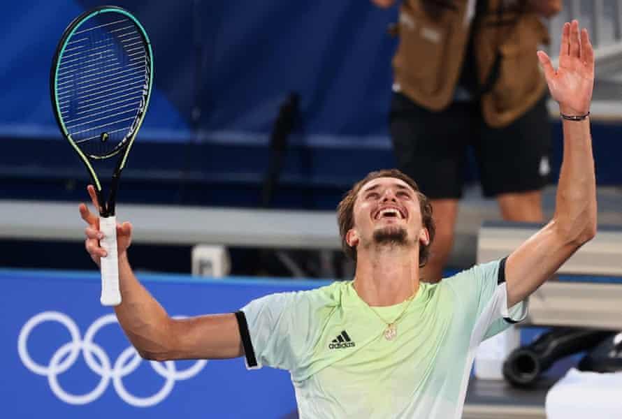 Alexander Zverev of Germany celebrates after winning his gold medal match.