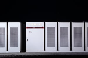 Tesla Inc. Powerpacks that will be used to form the world's largest lithium-ion battery stand near Jamestown, SA.