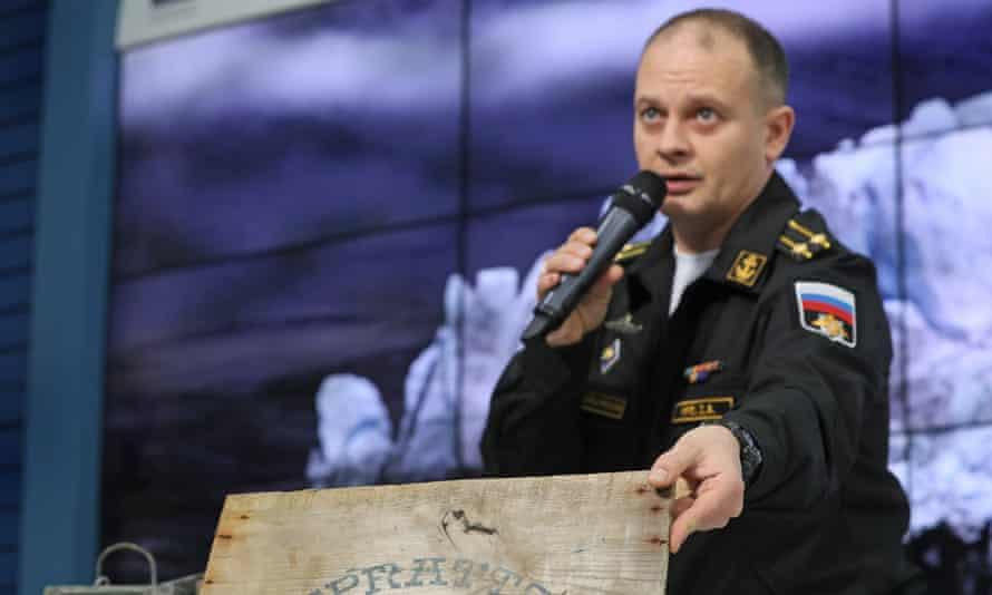 Denis Krets, commander of the northern fleet's expedition force, speaks at a press conference on the results of the expedition to the Franz Josef Land archipelago