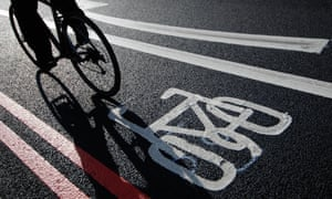 Cyclist in a bike lane in London