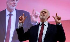 Jeremy Corbyn at the European socialist congress in Lisbon.