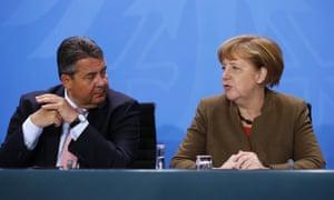 Sigmar Gabriel with the German chancellor, Angela Merkel.
