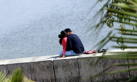An Indian couple enjoy a private moment in Mumbai