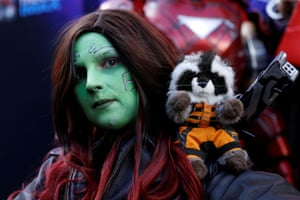 A cosplaying Gamora from Guardians of the Galaxy.